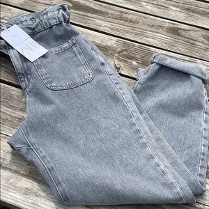 Zara paper bag grey denim jeans